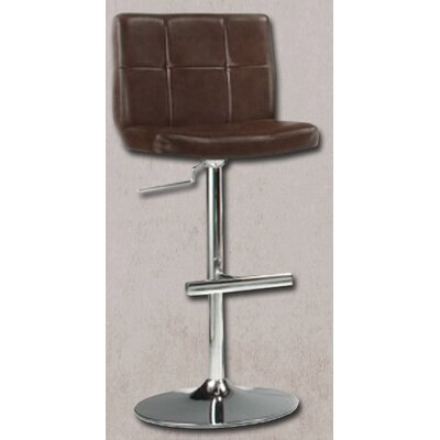 Miraval Adjustable Height Swivel Bar Stool Upholstery: Brown