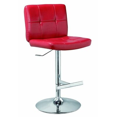 Miraval Adjustable Height Swivel Bar Stool Upholstery: Red