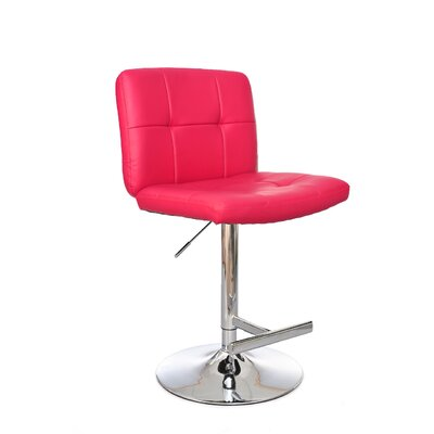 Adjustable Height Swivel Bar Stool Upholstery: Raspberry