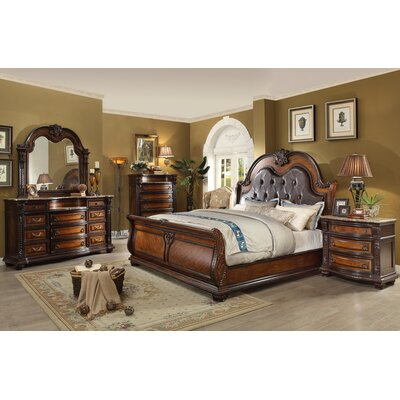 Old World Queen Sleigh 5 Piece Bedroom Set