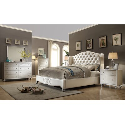 City Life Crystal Panel 5 Piece Bedroom Set