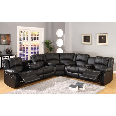 Comfort Reclining Sectional Upholstery: Black