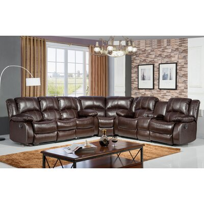 Reclining Curved Sectional Upholstery: Brown