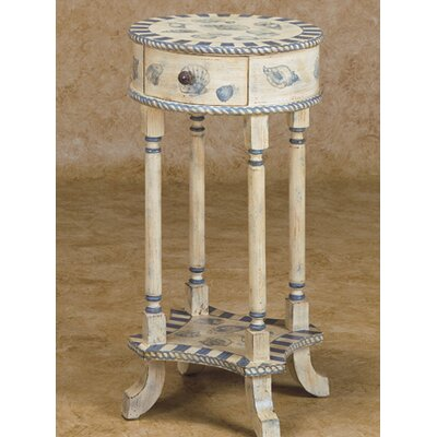 Cheap Ultimate Accents Blue Shores Round Lamp Table in Distressed Antique White (ULT1012)