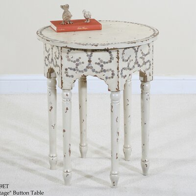 Cheap Ultimate Accents Cottage Button Table in Distressed Antique White (ULT1028)
