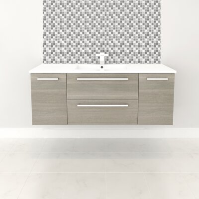 Silhouette 48 Wall-Mounted Single Bathroom Vanity Set Base Finish: Aria