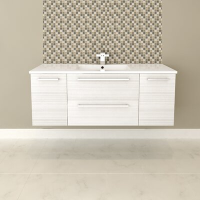 Silhouette 48 Wall-Mounted Single Bathroom Vanity Set Base Finish: White Chocolate