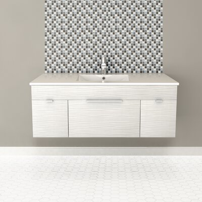 Textures 48 Single Floating Vanity Set Finish: Contour White