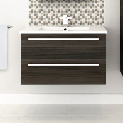 Silhouette 30 Wall-Mounted Single Bathroom Vanity Set Base Finish: Zambukka