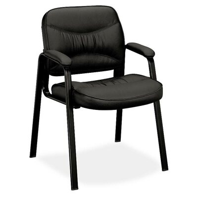 Leather Chair with Leg Base and Padded Arms Casters/Glides: Straight Leg