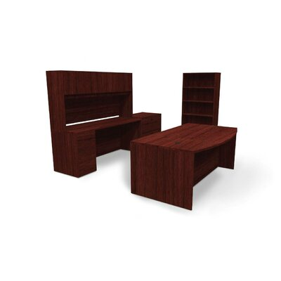 BL Series 3-Piece Standard Executive Desk Office Suite Finish: Mahogany 1444 Product Photo