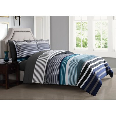 Abbington Comforter Set Size: King, Color: Blue