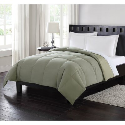 Reversible All Season Down Comforter Size: Twin, Color: Green