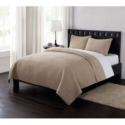 Reversible Quilt Set Size: King, Color: Khaki