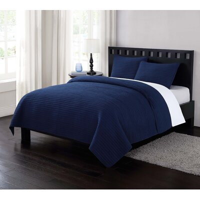 Reversible Quilt Set Size: King, Color: Navy