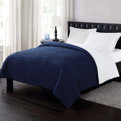 Reversible Blanket Size: Full/Queen, Color: Navy