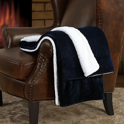 Supreme Velvet Sherpa Throw Color: Navy