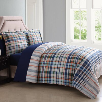 Cornwall Comforter Set Size: King, Color: Blue/Orange