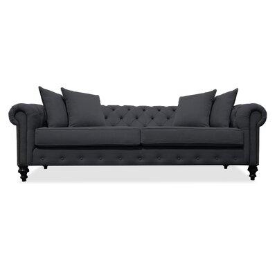 Hanover Tufted 90 Sofa Upholstery: Charcoal