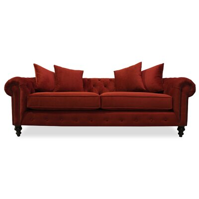Hanover Tufted 90 Sofa Upholstery: Red