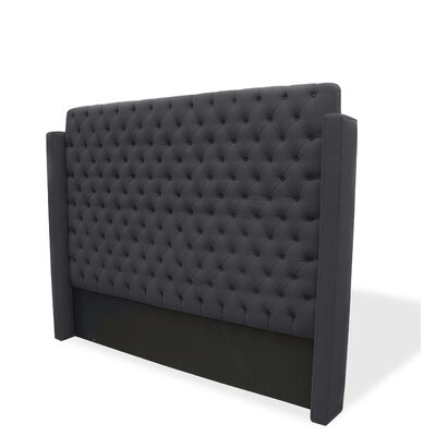 Franck Upholstered Wingback Headboard Size: Queen, Upholstery: Charcoal