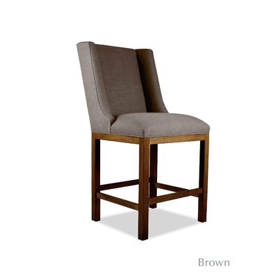 Harper 30 Bar Stool Upholstery: White, Finish: Cognac