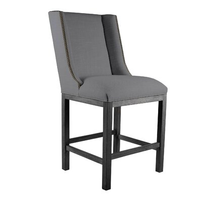 Harper 30 Bar Stool Upholstery: Gray, Finish: Cognac