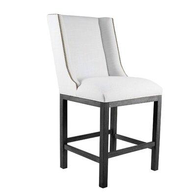 Harper 30 inch Bar Stool Upholstery: White, Finish: Cognac