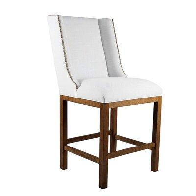 Harper 26 Bar Stool Upholstery: White, Finish: Gray