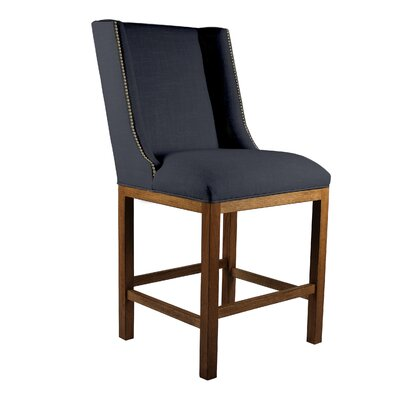 Harper 26 inch Bar Stool Upholstery: Charcoal, Finish: Cognac