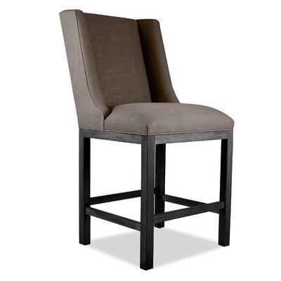 Harper 26 inch Bar Stool Upholstery: Brown, Finish: Gray