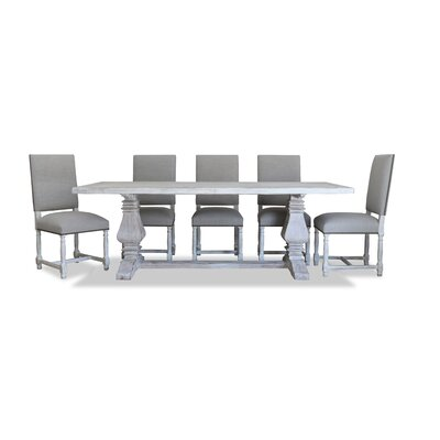 Gendreau Reclaimed Wood Rectangular Dining Set Upholstery: Linen, Finish: Vintage White
