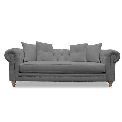 Hanover Tufted Linen Chesterfield Sofa Upholstery: Gray