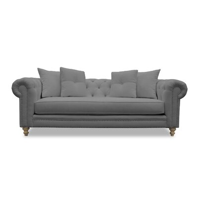 Hanover Tufted Linen Chesterfield Sofa Upholstery: Gray