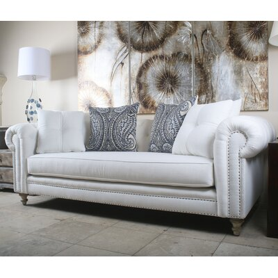 Hanover Tufted Linen Chesterfield Sofa Upholstery: White
