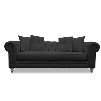 Hanover Tufted Linen Chesterfield Sofa Upholstery: Charcoal