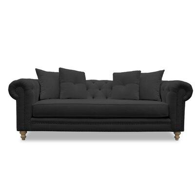 Hanover Tufted Linen Sofa Upholstery: Charcoal