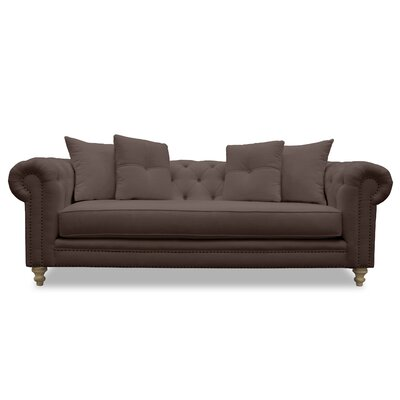 Hanover Tufted Linen Chesterfield Sofa Upholstery: Coffee