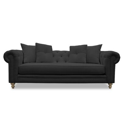 Hanover Tufted Linen Sofa Upholstery: Charcoal