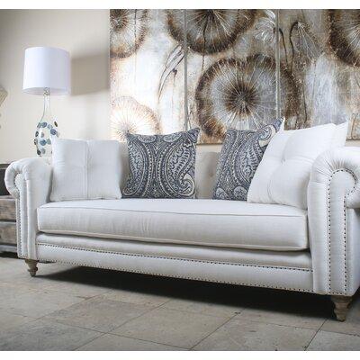 Hanover Tufted Linen Chesterfield Sofa Upholstery: White