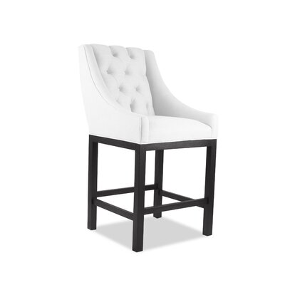 Haley 26 Bar Stool Upholstery Color: White, Leg Color: Dark Gray