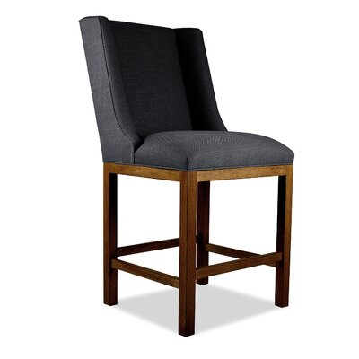Harper 26 inch Bar Stool Upholstery: White, Finish: Cognac