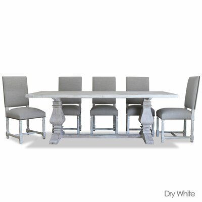 Weston Reclaimed Wood Rectangular Dining Set Upholstery: Linen, Finish: Dry Cement