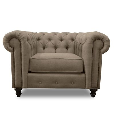 Hanover Chesterfield Chair Upholstery: Brown