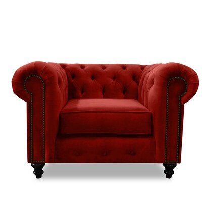 Hanover Chesterfield Chair Upholstery: Red