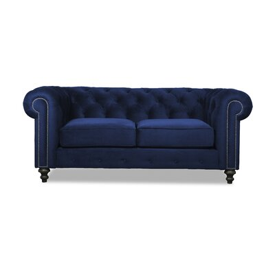 Hanover Tufted 72 Chesterfield Sofa Upholstery: Blue