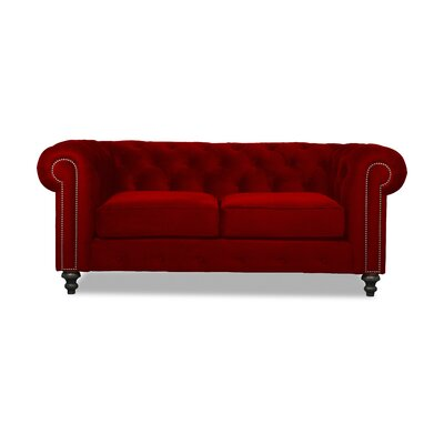 Hanover Tufted 72 Chesterfield Sofa Upholstery: Red