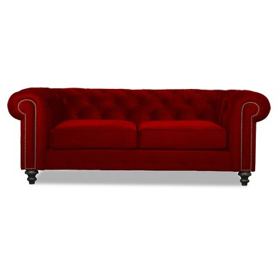 Hanover Tufted 90 Chesterfield Sofa Upholstery: Red