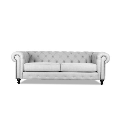 Hanover Tufted 90 Chesterfield Sofa Upholstery: White