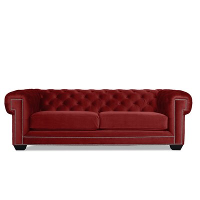 Alexander Chesterfield Sofa Upholstery: Red Velvet